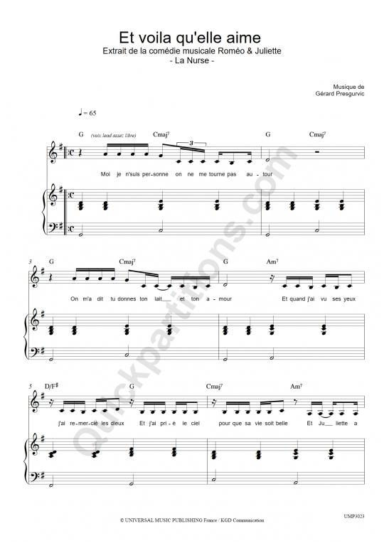 Partition piano Et voilà qu'elle aime - Romeo et Juliette