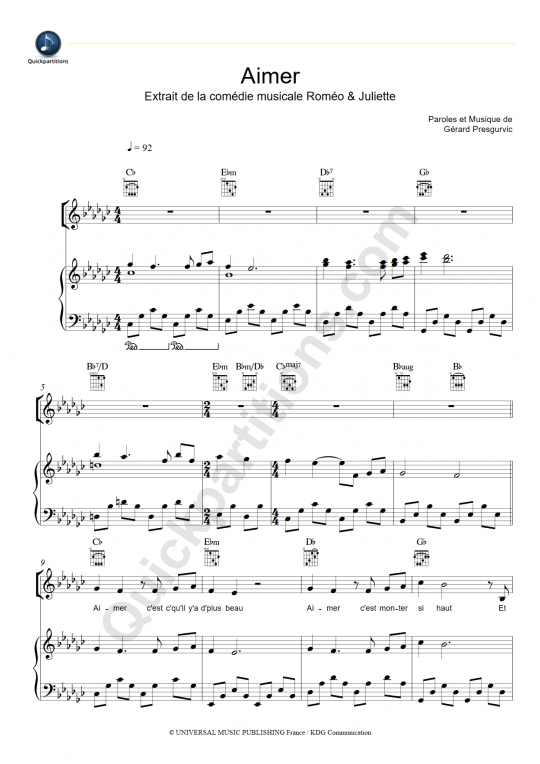 Aimer Piano Sheet Music - Romeo et Juliette