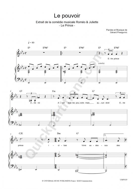 Partition piano Le pouvoir - Romeo et Juliette