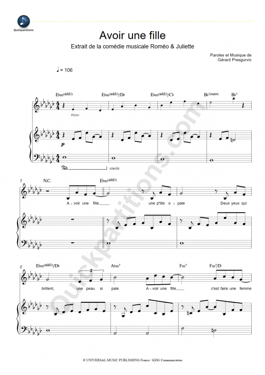 Avoir une fille Piano Sheet Music - Romeo et Juliette