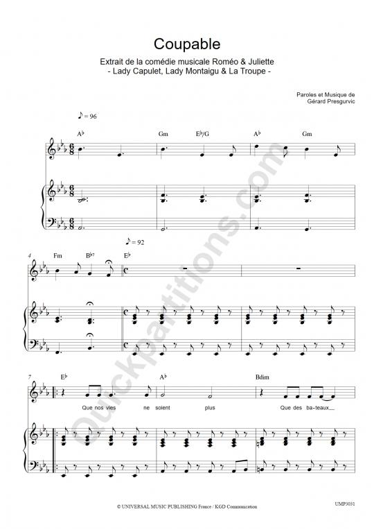 Partition piano Coupables - Romeo et Juliette