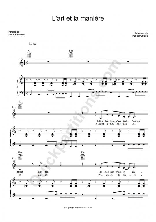 L'Art et la Manière Piano Sheet Music - Christophe Maé