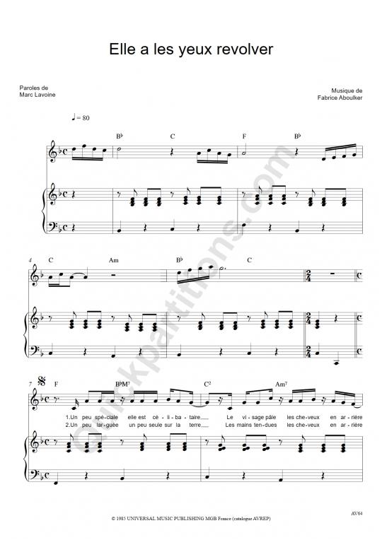 Elle a les yeux revolver Piano Sheet Music - Marc Lavoine