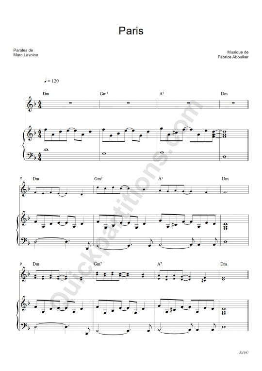 Paris Piano Sheet Music - Marc Lavoine