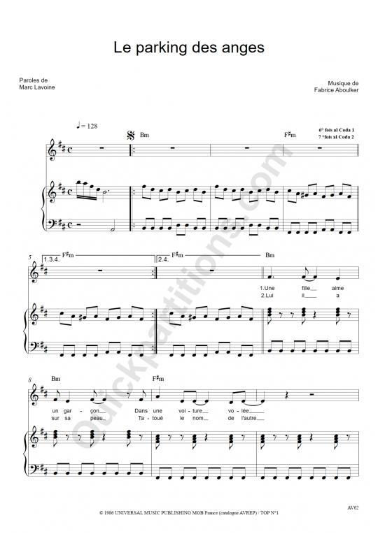 Le parking des anges Piano Sheet Music - Marc Lavoine