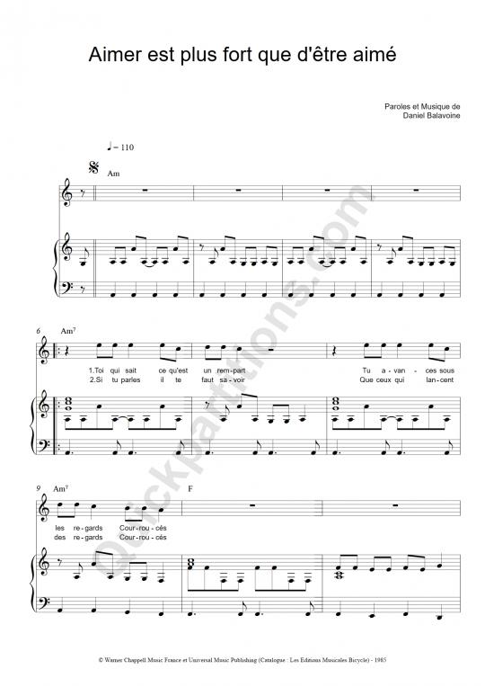 Partition piano Aimer est plus fort que d'être aimé - Daniel Balavoine
