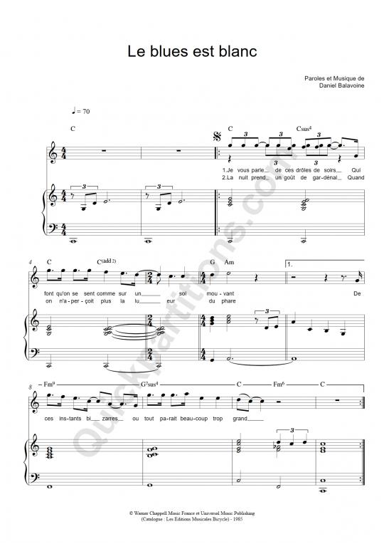 Partition piano Le blues est blanc - Daniel Balavoine