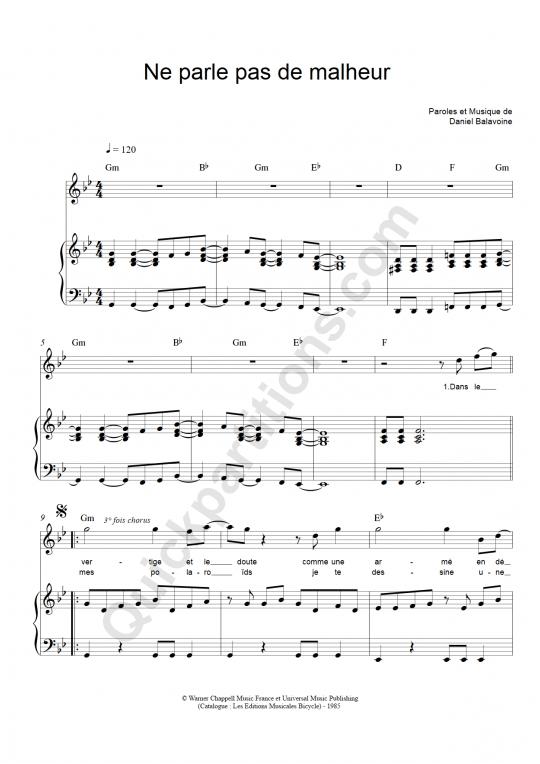 Partition piano Ne parle pas de malheur - Daniel Balavoine