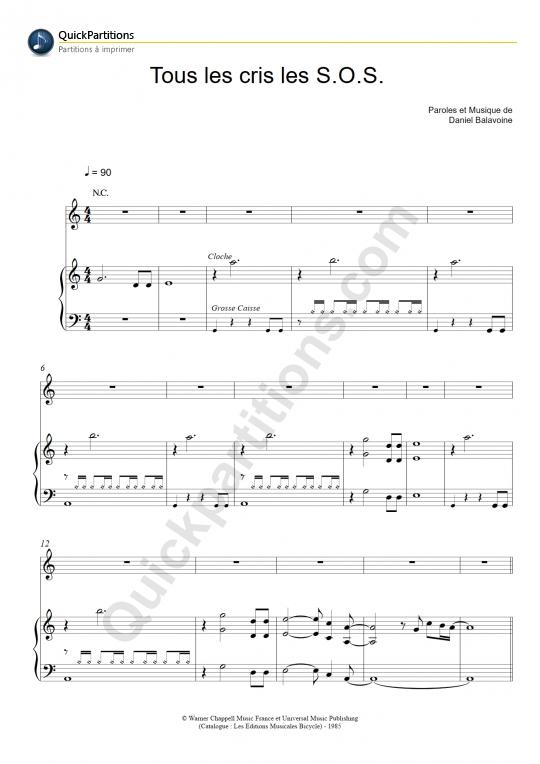 Partition piano Tous les cris les S.O.S. - Daniel Balavoine