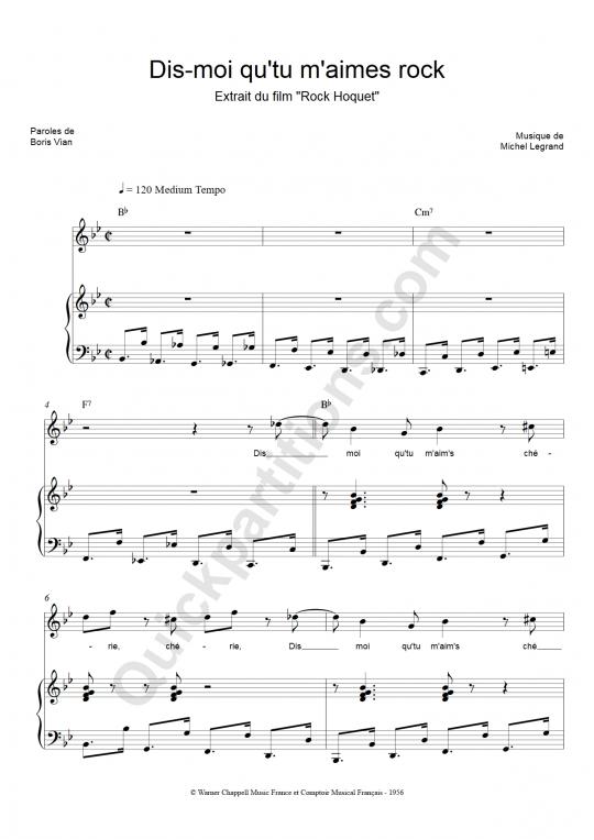 Partition piano Dis-moi que tu m'aimes rock - Henri Salvador