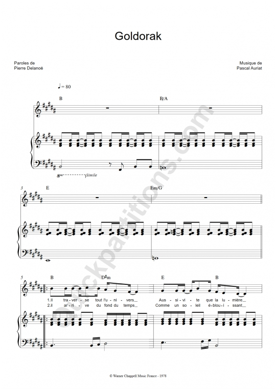 Partition piano Goldorak - Noam