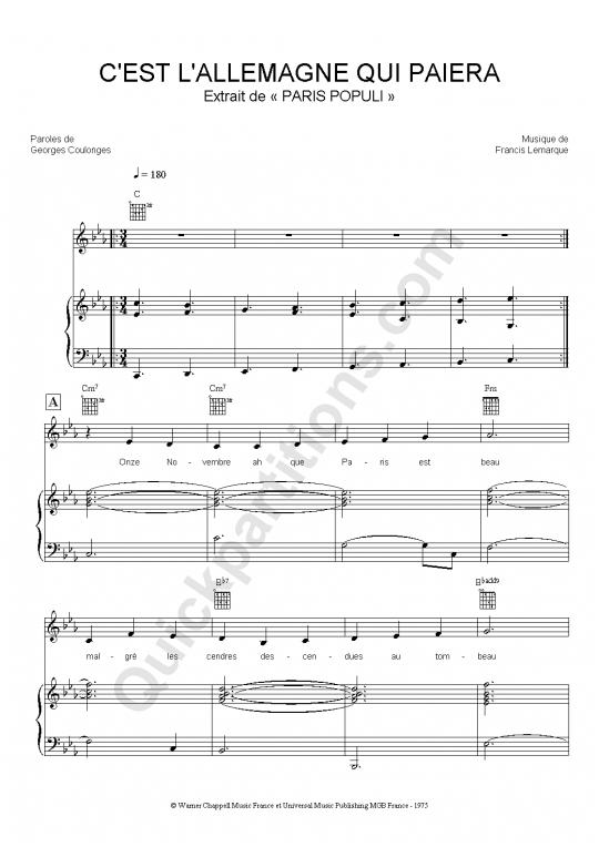 Partition piano C'est l'Allemagne qui paiera - Paris Populi
