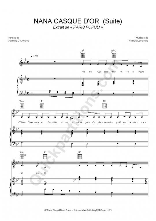 Partition piano Nana casque d'or (suite) - Paris Populi