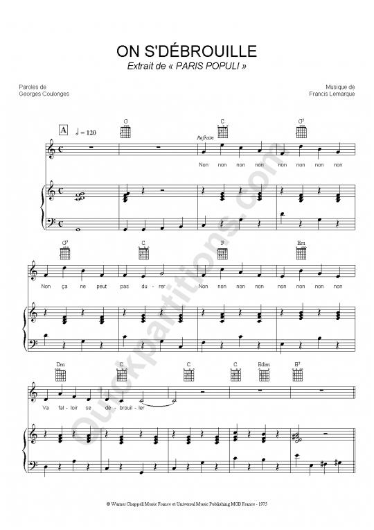 Partition piano On S'débrouille - Paris Populi