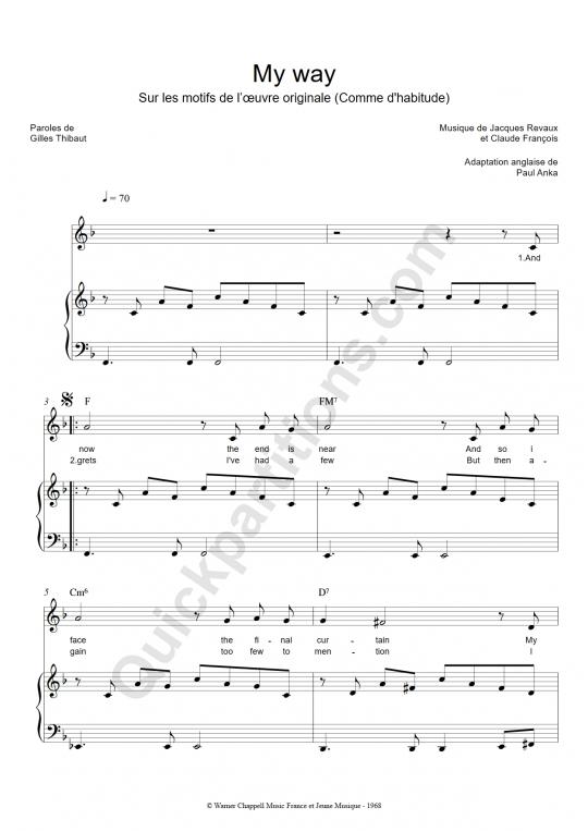 partition piano my way gratuite