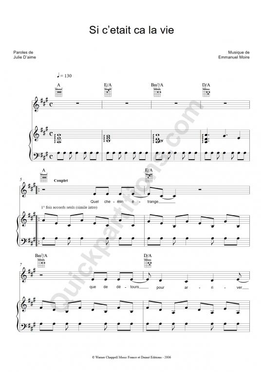 Partition piano Si c'était ça la vie - Emmanuel Moire