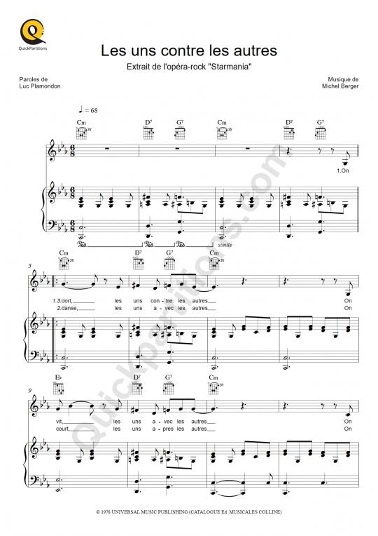 Partition piano Les uns contre les autres - Starmania