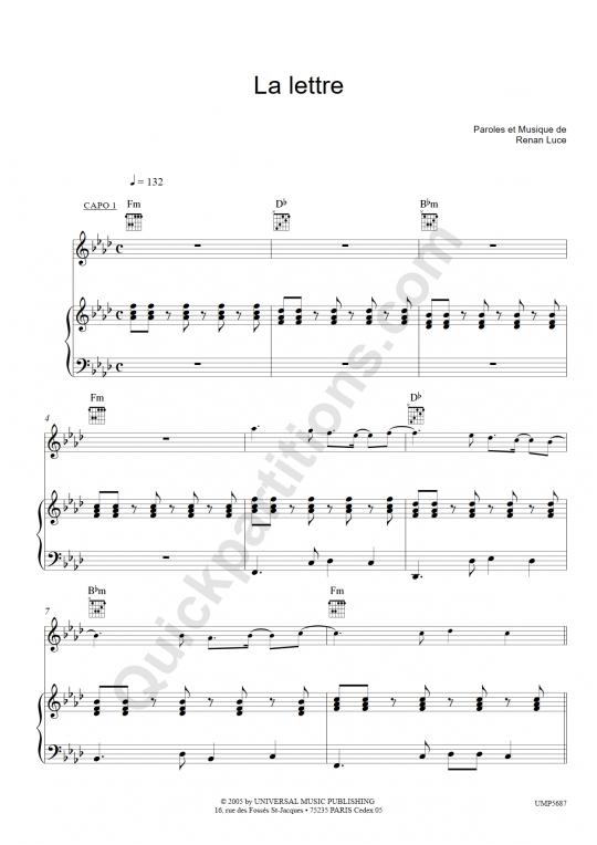 La lettre Piano Sheet Music - Renan Luce