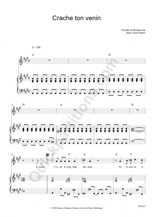 Partition piano Crache ton venin - Téléphone