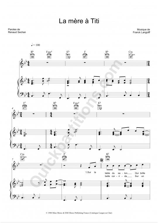 Partition piano La mère à Titi - Renaud