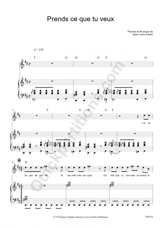 Partition piano Prends ce que tu veux - Téléphone