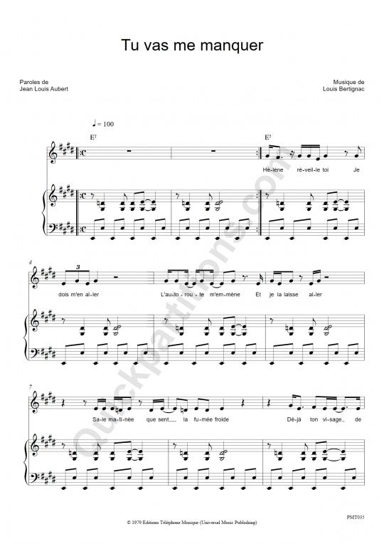 Partition piano Tu vas me manquer - Téléphone