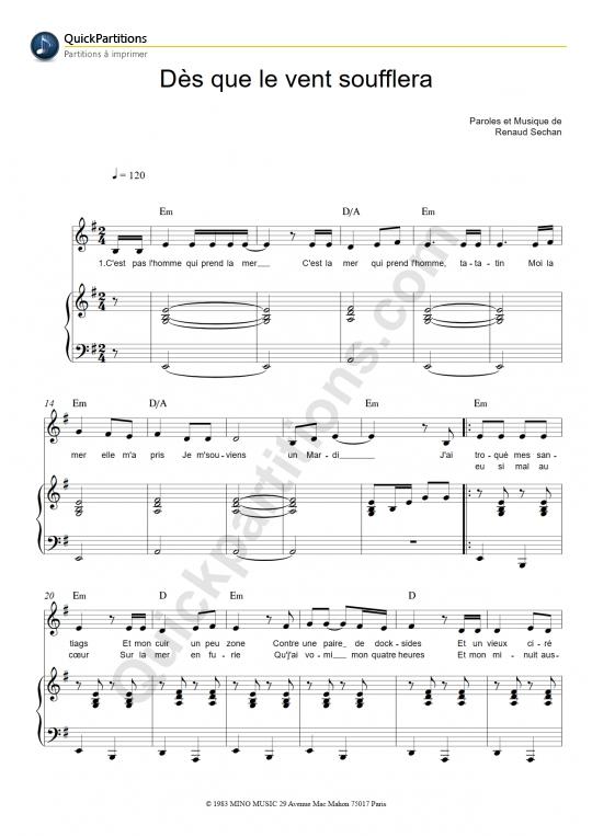 Dès que le vent soufflera Piano Sheet Music - Renaud