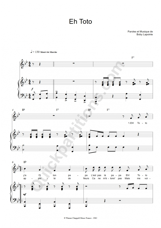 Partition piano Eh Toto - Boby Lapointe