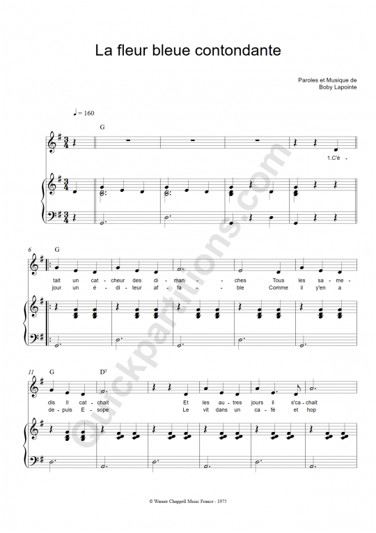 Partition piano La fleur bleue contondante - Boby Lapointe