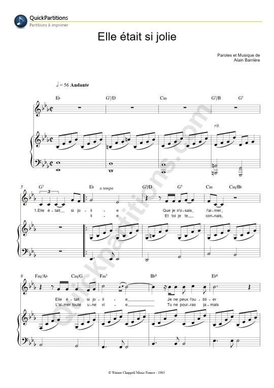 Elle Etait Si Jolie Piano Sheet Music - Alain Barriere
