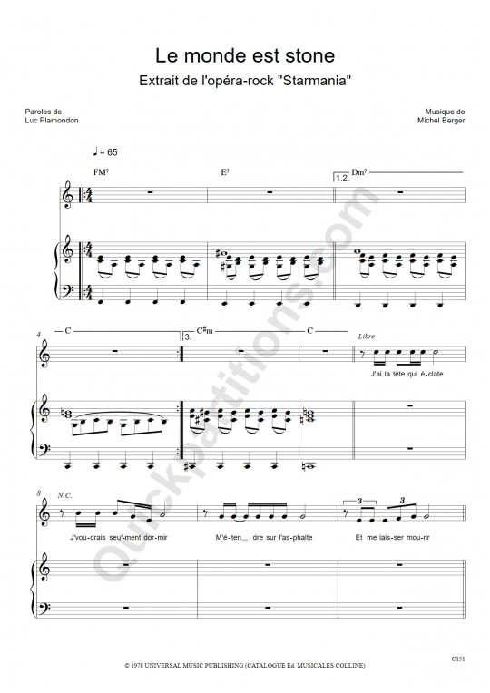 Partition piano Le monde est stone - Starmania