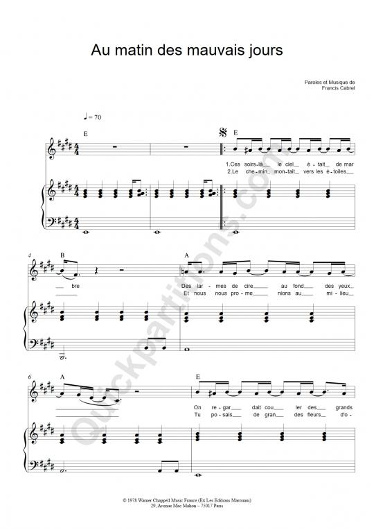 Au matin des mauvais jours Piano Sheet Music - Francis Cabrel