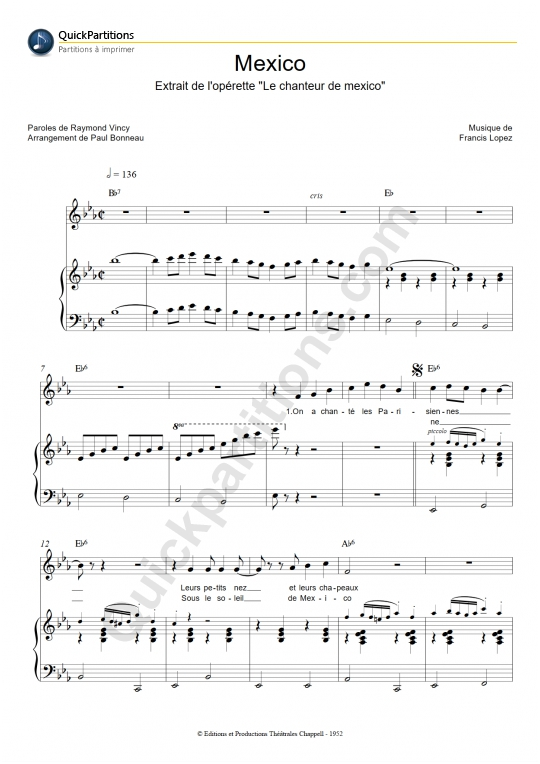 Mexico Piano Sheet Music - Luis Mariano